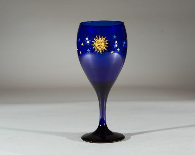 Blue Wine Glass - 10oz Vintage Libbey Cobalt Blue Celestial Sun, Moon, Stars Cocktail Bar Cocktail Glass