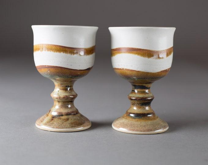 Ceramic Wine Goblets - Pair of 8oz Handmade Beachscape Nautiful Earthy Vintage Boho Studio Pottery Art Wine Glasses