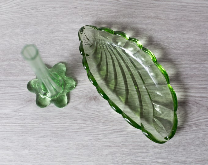 Green Glass Vase and Tray - Antique Depression Glass Decor - Vintage 1930s Leaf Tray and Flower Vase