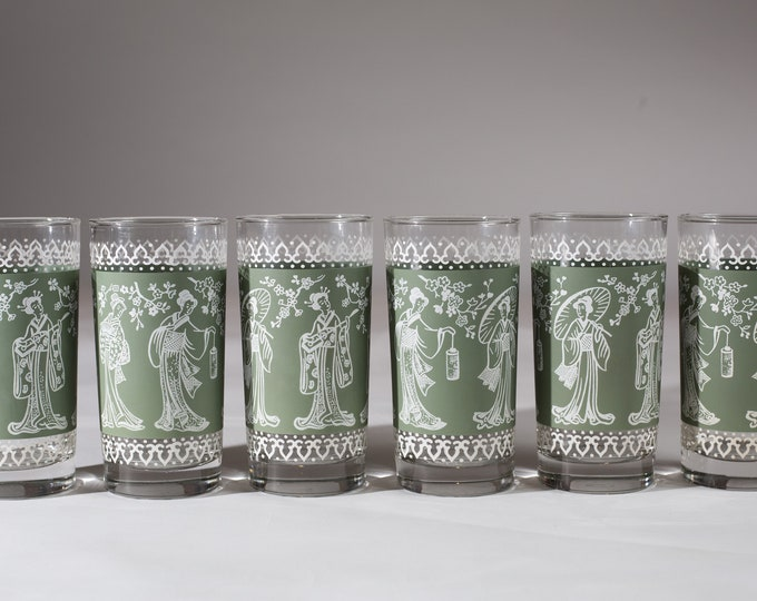 6 Cocktail Glasses - Greek / Asian Style Vintage Clear Glass with Green Motif Wedgwood Style Hollywood Regency Barware