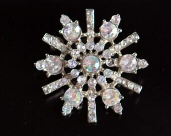Vintage Silver Tone Brooch with Rhinestones - Retro Round Grandma Star Shaped Starburst Pin Jewelry