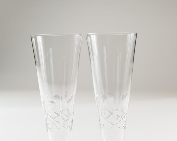 2 Vintage Beer Glasses - Olive and Cross Fluted Pilsner Glassware - Cocktail Barware Glasses Etched Steins
