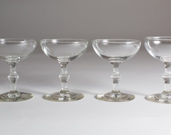 4 Champagne Coupe Glasses - 4oz Mid Century Modern Hollywood Regency Cocktail Glasses - Retro Party Stemware