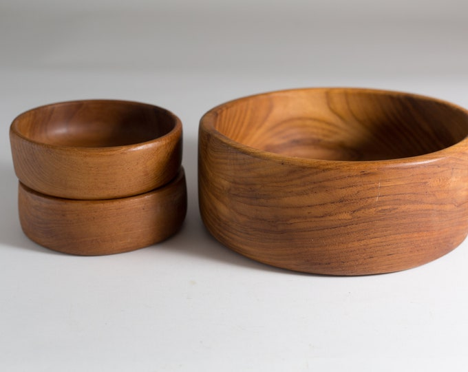 Teak Salad Bowl Set - Vintage Solid Exotic Wood Food Safe Serving Appetizer Dish Platter - Hand Carved Hardwood - Danish Modern Nordic