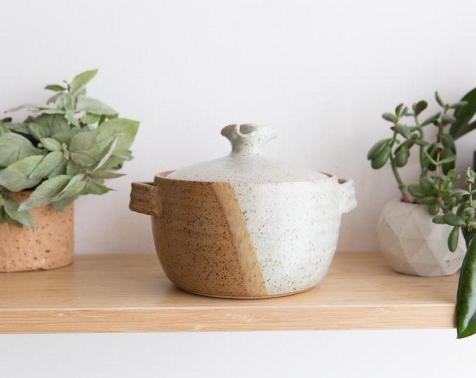 Vintage Casserole Dish - Lidded Studio Pottery Pot  - Farmhouse Country Rustic Decor