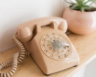 Vintage Beige / Peach Phone - 1970's Rotary Home Phone - Retro Stranger Things Telephone