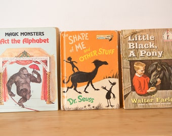3 Vintage Children's Books - Magic Monsters Act the Alphabet, The Shape of Me and Other Stuff by Dr. Seuss, and Little Black, a Pony