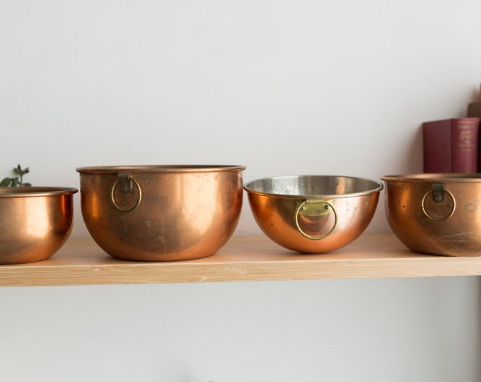 Vintage Copper Pots - Set of 4 Mixing or Cooking Pots with Brass Handles - French Country Kitchen Decor - Baker's Minimalist Home -Chef Gift