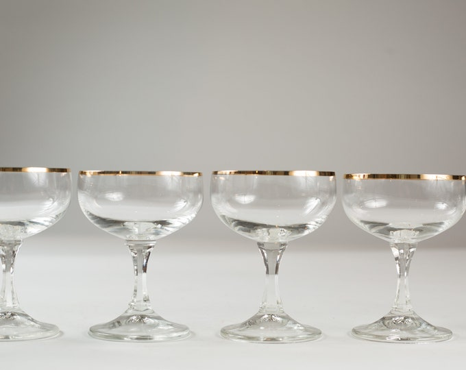 8 Champagne Coupe Glasses with Gold Rims - 6oz Mid Century Modern Hollywood Regency Cocktail Glasses - Retro Party Stemware