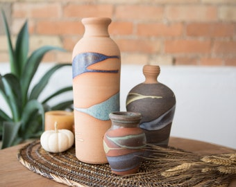 3 Vintage Ceramic Vases - Small Tribal Vases - Alfa Dom Dominican Republic Studio Pottery - Earthy Boho Glaze Abstract Studio Pottery