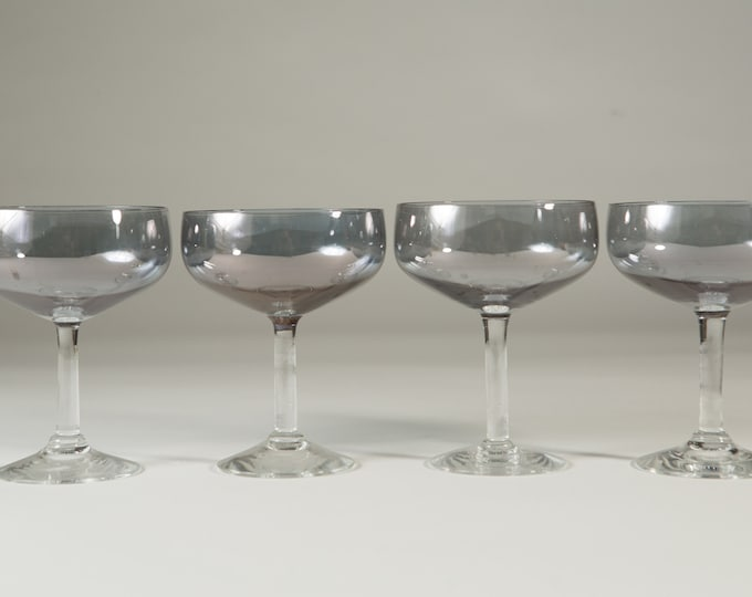 4 Champagne Coupe Glasses with Grey Iridescent Shimmer - 6oz Mid Century Modern Hollywood Regency Cocktail Glasses - Retro Party Stemware