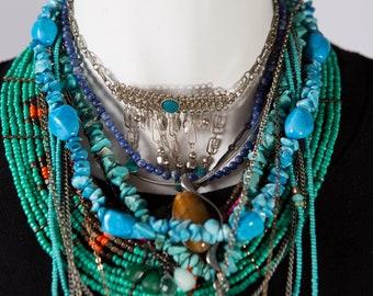 Lot of Gemstone Beaded Southwest Boho Necklaces - Blue Turquoise Colored Howlite Stone Necklace - Boho Modern Jewelry - Mother's Day Gift