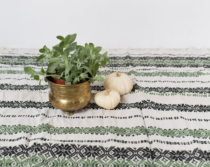 Vintage Striped Tablecloth - 1970's Green and Black and White Striped Mid Century Modern Geometric Style Fabric Tapestry Christmas Table