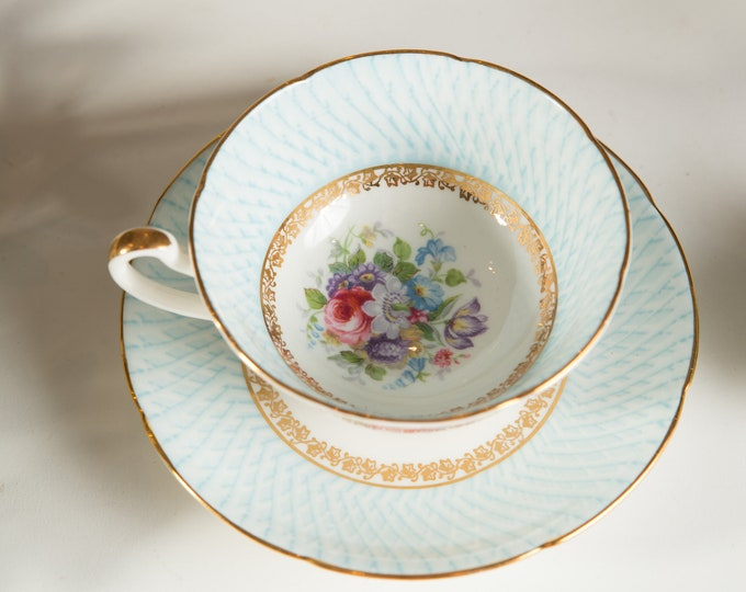 Vintage Bone China Teacup - Royal Grafton Tea cup and Saucer with Floral Flower Pattern- Made in England