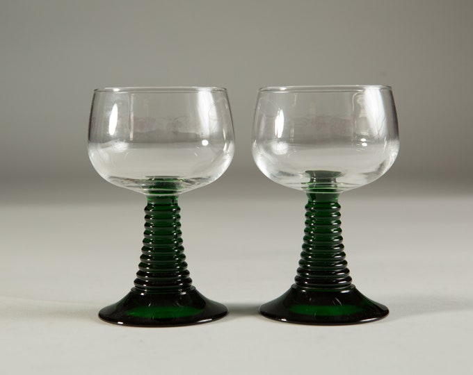 Vintage Cactus Glasses - 5oz Southwestern Mexican Green Stem Ribbed Shape Cocktail / Wine Glasses