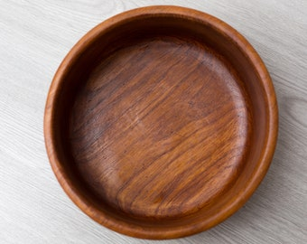 Teak Salad Bowl - Vintage Solid Exotic Wood Food Safe Serving Appetizer Dish Platter - Hand Carved Hardwood - Danish Modern Nordic Scandi
