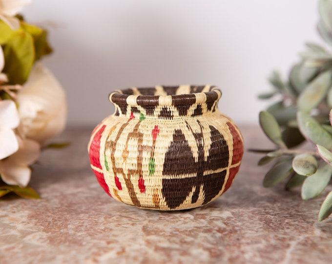 Small Woven Basket - Modern Boho Decor - Muted Sisal / Rattan / Wicker Style Handwoven African Blessing Basket