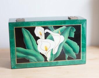 Green Jewelry Box - 1980's Vintage Lily Flower Decorated Emerald Trinket Box with Felt -Handmade Boho Modern Style Ring Box