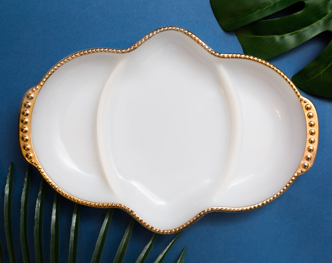 Vintage Gold and White Plate - Milk Glass Anchor Hocking Divided Relish Serving Dish with Gold Beaded Trim