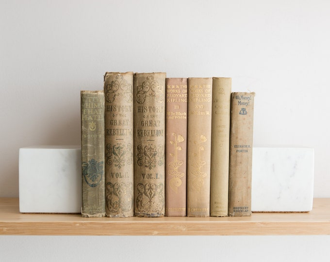 Vintage Brown Books - Decorative Beige Coloured Book Covers For Home Library or Interior Design - Christmas Colour Decor