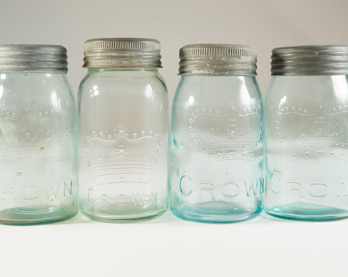4 Vintage Crown Canning Mason Jars with Blue Glass and Zinc Lid (Made in Canada) - Farmhouse Decor Quart Jars - Canadiana Rustic Kitchen