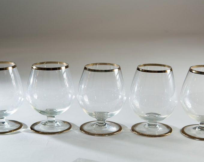 5 Vintage Brandy Snifter Glasses - 10oz Silver Rim Stemware - Mad Men Coctail Retro Barware / Glassware
