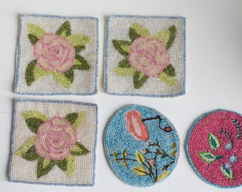 Vintage Beadwork - Pink and Off-White Hand Beaded Floral Patches with Native American Influence