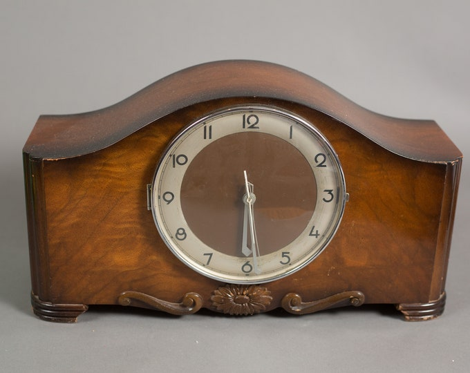 Vintage Electric Clock - Antique Wood Mangle Clock