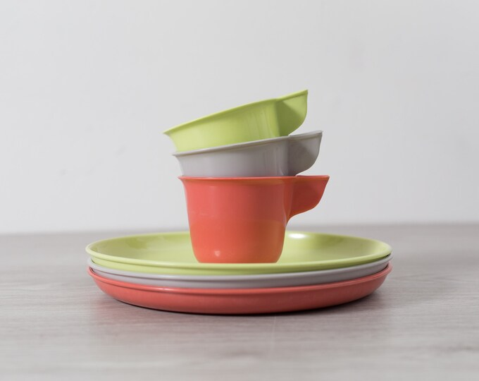 Vintage 6 piece Set of Grey, Coral Pink and Chartreuse Green Tea Cups and Plates - Plastic Coffee Mugs