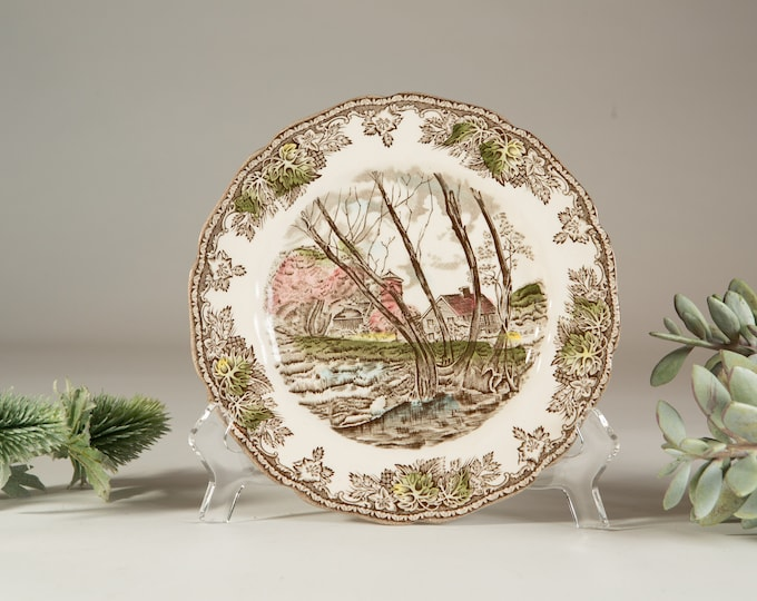 6 Vintage Johnson Brothers Friendly Village Willow by the Brook Pattern Plates - Painted Country Farmhouse Winter Scene