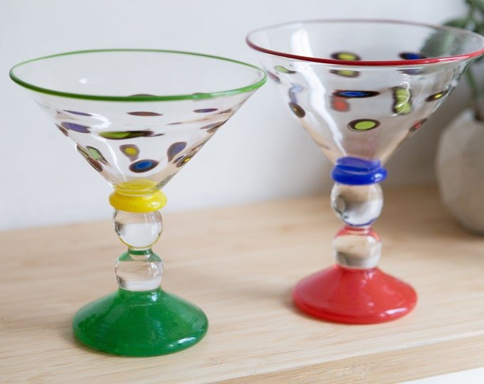 Vintage Martini Glasses - 8oz Pair of Colourful Mexican Art Glass Style Handblown Cocktail Stemware Glasses