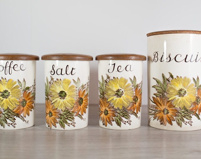 vintage canisters - coffee, tea, salt, biscuit /  hand-painted flower pattern Jars / decorative brown, yellow, orange, watercolor