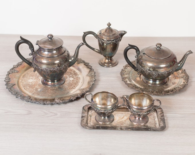 Vintage Silver Plated Teapot Set - Grape and Vine Pattern - W.M Rogers EP on Copper -