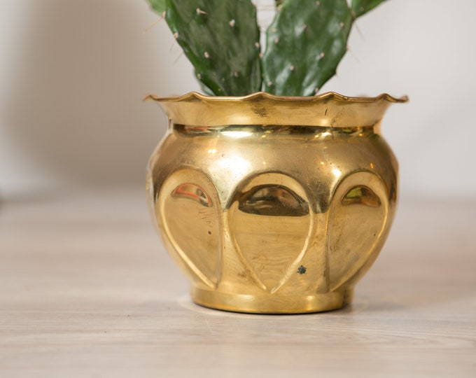 Vintage Solid Brass Planter - Round Metal Thumbprint Pattern Pot for Succulents, Cactus, Plants, Herbs, etc - Gold Coloured Bowls