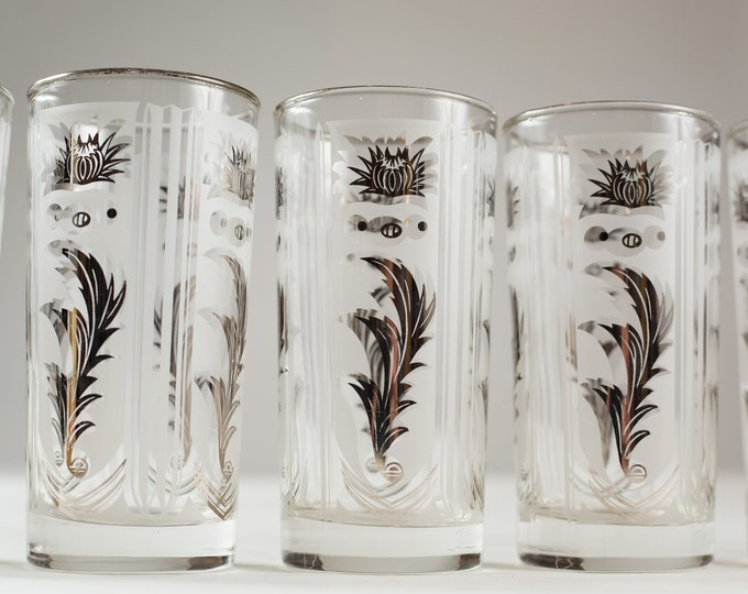 6 Silver Overlay Highball Tumblers - Vintage 12oz Hand Blown Cocktail Glasses with Metallic Flowers - Hollywood Regency Bohemian Barware
