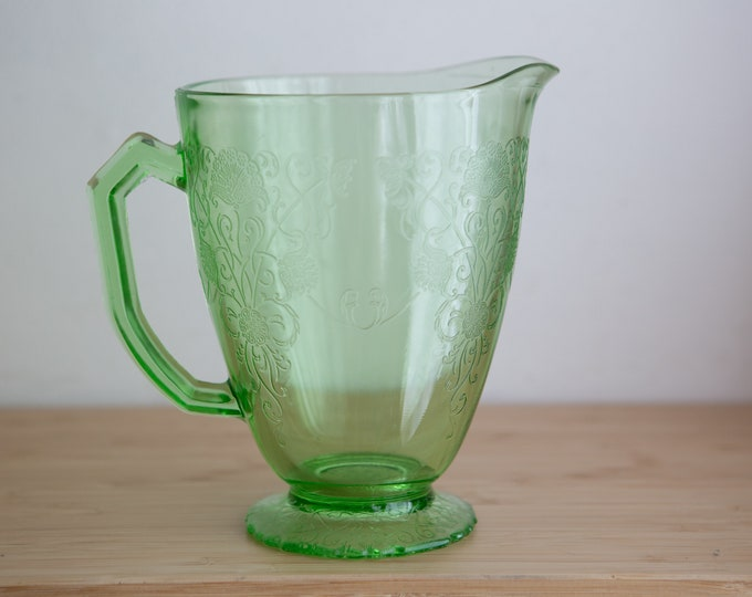 Vaseline Glass Pitcher-  Florentine or Poppy pattern by Hazel Atlas - Antique Uranium Depression Glass Collectible