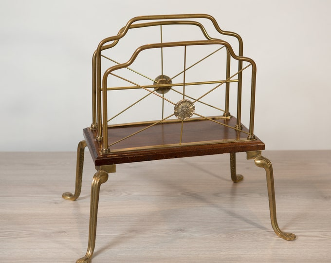 Robert Dirstein Magazine Rack - Vintage Brass and Wood Designer Magazine holder