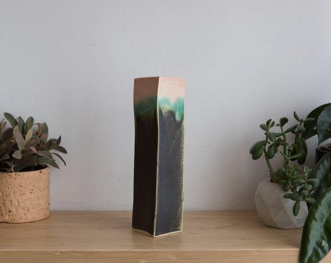 Handmade Vase - Charcoal, Aqua and Pink Glaze Studio Pottery Tall Vase