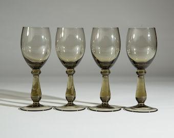 Smoke Brown Apéritif Glasses -Set of 4 Vintage Smokey Grey Sipping Alcohol Glasses (Mad Men 1960's Style Liquor Stemware Barware)