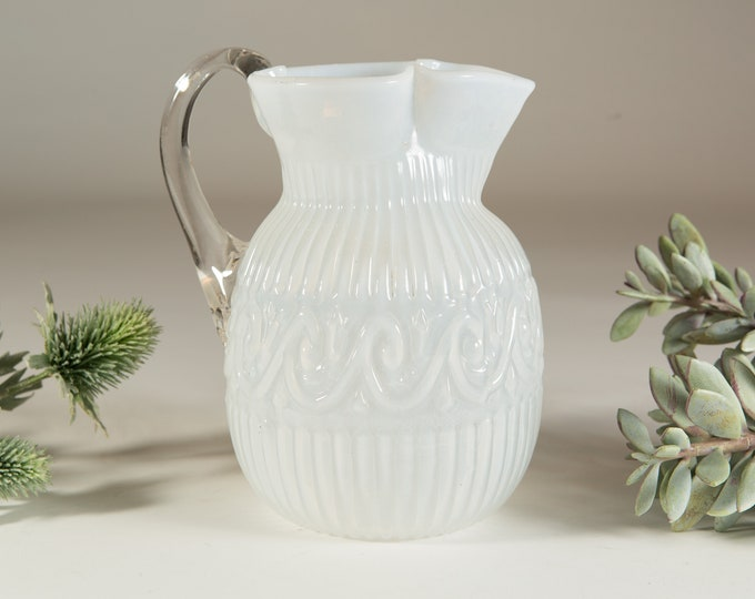 Antique White Glass Pitcher - Late 1800's Pleated Opalescent Cocktail Water Jug Pitcher with Handle