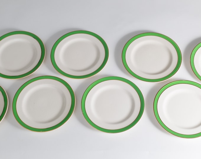 7 Queens Green Solian Ware Antique Side Plates - Set of English Plates with Green and Gold Rim circa 1940's - Made in England Dinnerware