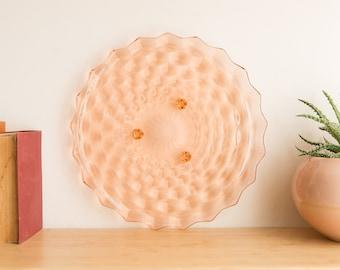 Vintage Pink Glass Tray - Large 1960's Round Geometric Honeycomb Cake / Dessert Platter - Pink Serving Tableware Decor - Mrs. Maisel Style