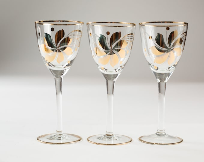 3 Aperitif Glasses - 4oz Gold Decal Small Vintage Sipping Glasses with Flowers - Mid-Century Boho Collectible Floral Glassware