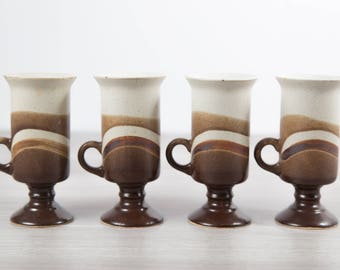 Vintage Ceramic Coffee Mugs / Set of 4 Footed and Layered Earth-tone Sediment Style cups with Triple Dip in Brown and White Expresso Latte