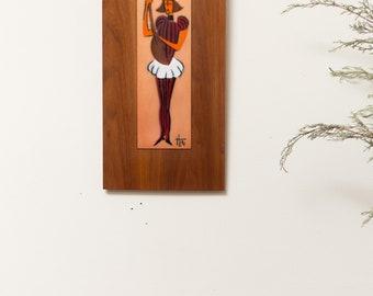 Vintage Framed Enamel Art on Wood Plaque - Dutch Mid Century Modern Artwork