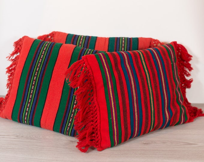 3 Vintage Red Stripe Pillows - Scandinavian Style Wool Pillows with Fringe - Red and Green Decorative Throws - Mid Century Modern Decor
