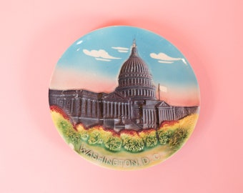Washington DC Plate / Vintage Collectible Souvenir Ceramic Wall Plate - Pink, Blue Green Plate