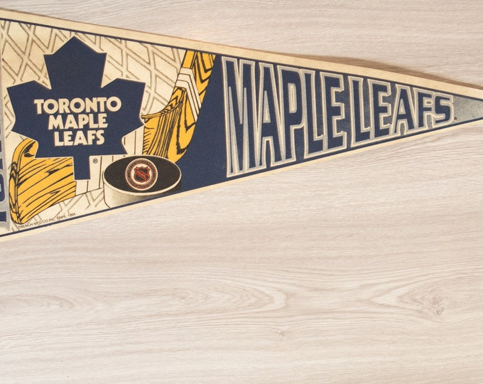 Toronto Maple Leafs Pennant - Vintage NHL Hockey Felt Souvenir Hanging Triangle Shaped Sports Theme Wall Decor - Boys Room Wall Hanging