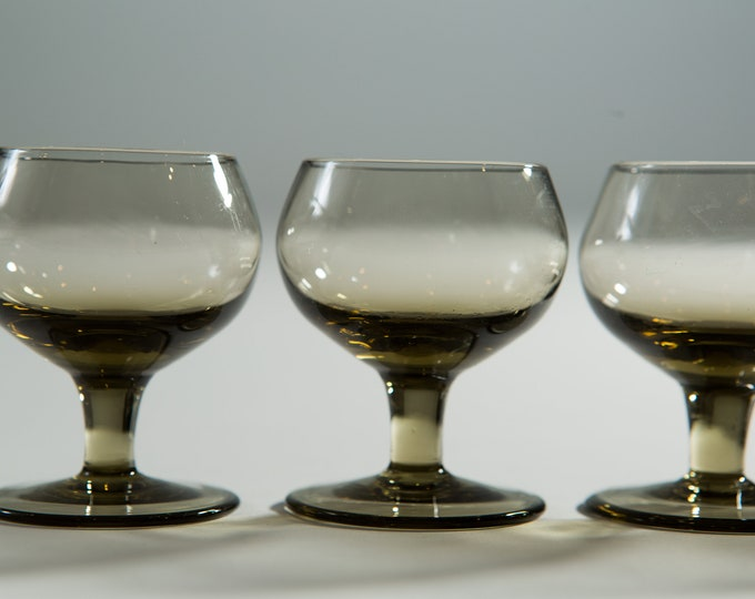4 Vintage Apéritif Glasses - Grey Bubble Top Space Age Saucer Glass Cordial Glasses - Mid Century Modern Liqueur Glasses