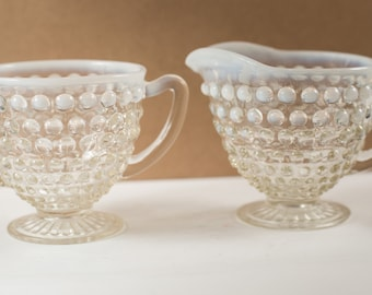 Vintage Fenton Creamer and Sugar - French Opalescent Glass Hobnail Coffee Serving Dishes - Mothers Day Gift - Gift for Mom - Grandma Gift